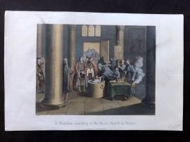 After Picart 1860 Hand Col Print. A Baptism according to the Greek Church in Russia